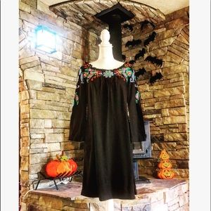 JWLA black embroidered Johnny Was dress